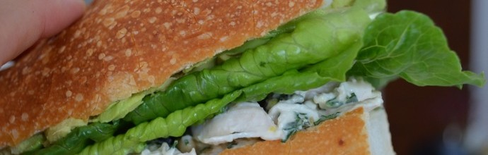 Simple summer entertaining… Chicken, pine nut and lemon salad sandwich