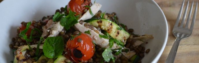 Warm roast chicken, lentil and zucchini salad